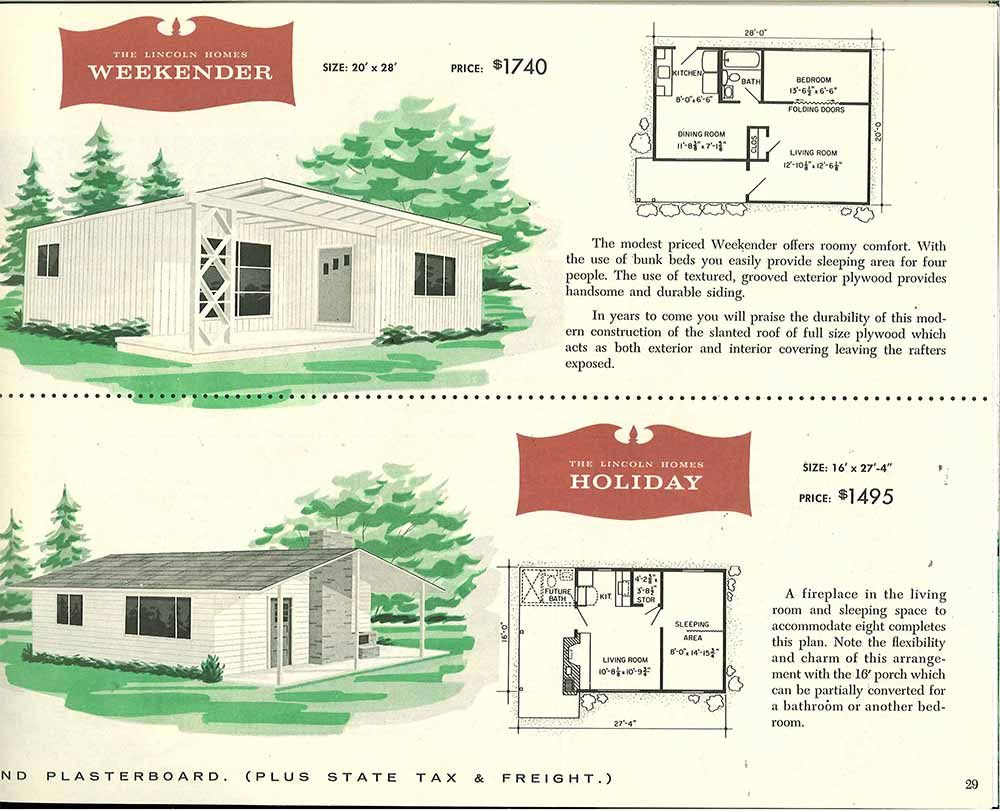 Factory built houses 28 pages of lincoln homes from 1955 for 1950s house plans