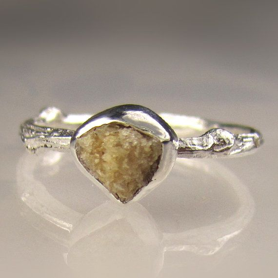 Rough Diamond Twig Ring in Sterling Silver, Engagement Ring