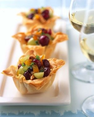 Crispy Phyllo Cups with Fruited Brie Appetizer, made with delicious Grapes from California