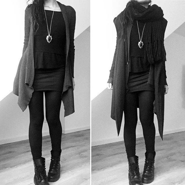 long boots, woolly tights, tight dress, shirt, bat-wing cardigan, wolf necklace - wear - #Batwing #boots #Cardigan #Dress #long #Necklace #Shirt #tight #Tights #Wear #Wolf #woolly #gothclothes