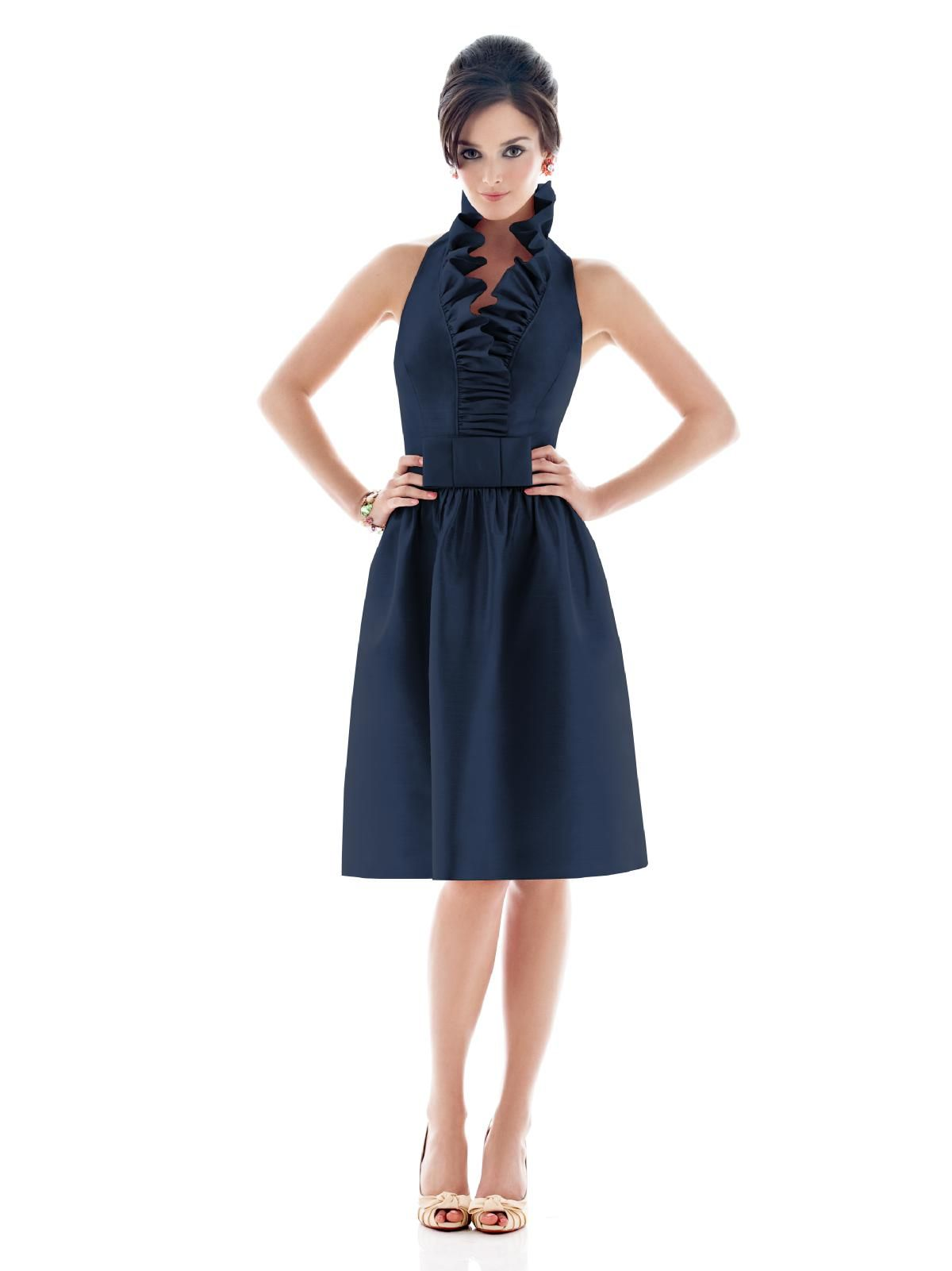 Alfred sung navy blue sexiness my style pinterest alfred bridesmaid dress alfred sung midnight blue cocktail length halter neck wruffle flat bow at waist ombrellifo Image collections