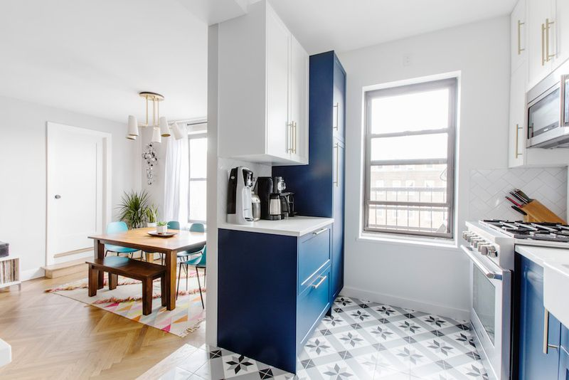 An Apartment Renovation in Kensington, Brooklyn, Transforms the Home - Apartment renovation, Kitchen renovation, Home, Sweet home alabama, Renovation, Renovations - An apartment renovation in Kensington, Brooklyn includes overhauling the kitchen, living area, bathrooms, and kids' rooms