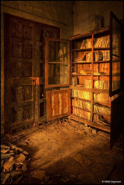 Books decaying on shelves in an abandoned castle in Spain.  Love the light!