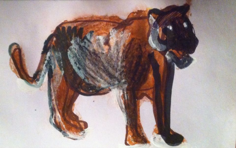 """'Black Panther.' Mixed Media On Card. 4x6"""" By Rosanna Jackson Wright. #Art #Drawing #BlackPanther #MixedMedia #Wild"""