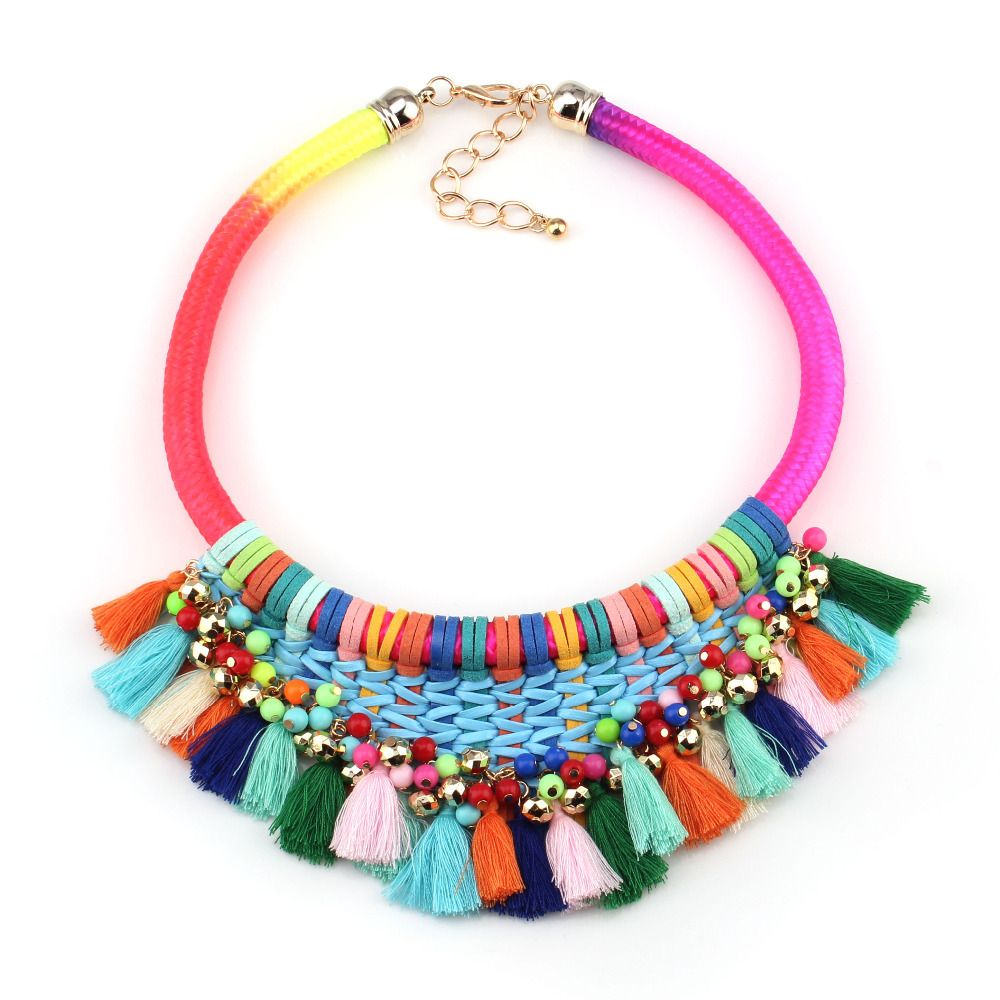 fashion 2016 new arrival brand neon colorful rope chain handmade tassel chunky bead chain statement necklace for women jewelry