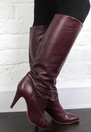clearance special promotion top fashion Vintage 1980's Burgundy Leather High Heeled Boots UK 6 ...
