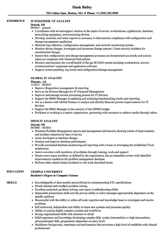 It Analyst Resume Examples In 2021 Resume Examples Resume Resume Skills
