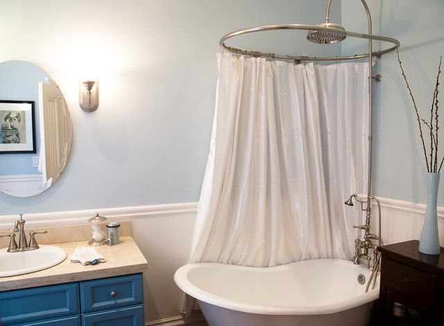 corner shower curtain rod bathroom eclectic with bath blue blue paint blue vanity clawfoot tub faucet
