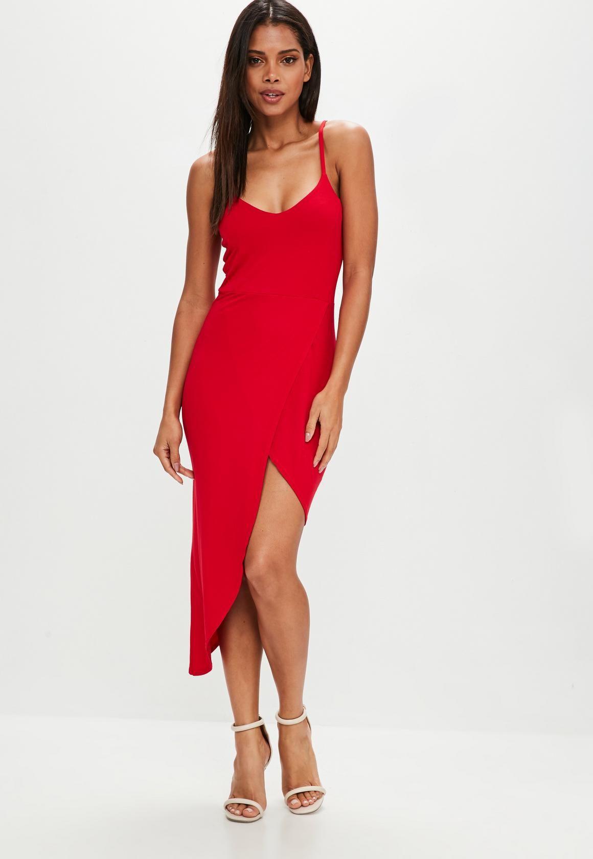 f045298b0d Missguided - Czerwona asymetryczna sukienka