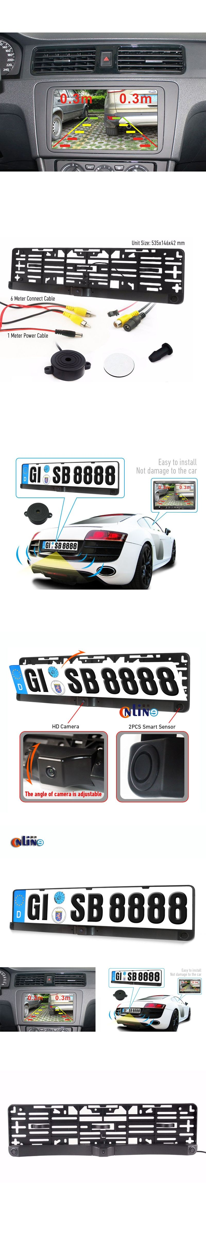 Car License Plate Frame PAL/NTSC Auto Camera Car Rearview Reverse ...
