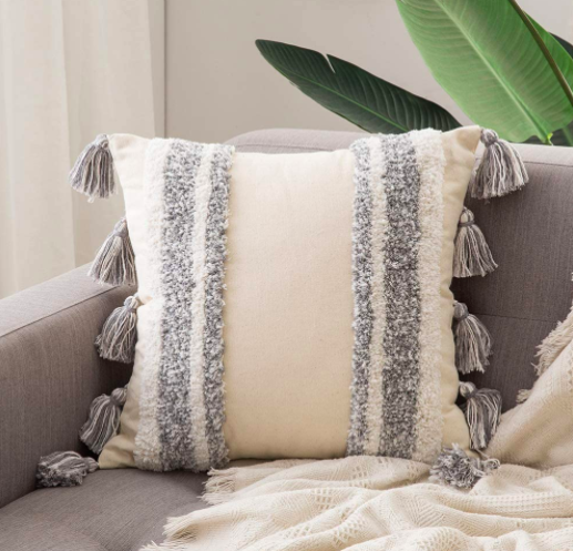 Woven Tufted Tassel Throw Pillow Covers
