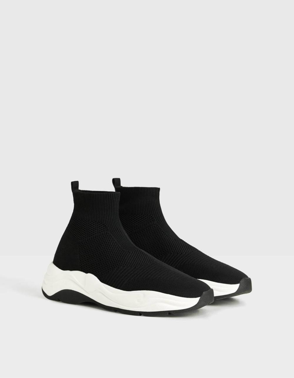 Wysokie Buty Sportowe Ze Skarpeta Buty Mezczyzna Bershka Black Sneaker Shoes Puma Fierce Sneaker