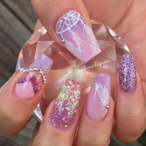 Top 40 Beautiful Glitter Nail Designs To Make You Look Trendy And Stylish -  Page 38 of 42 - Nail Polish Addicted - Lilac Coffin Shaped Nails Uñas Pinterest Lilacs, Pretty