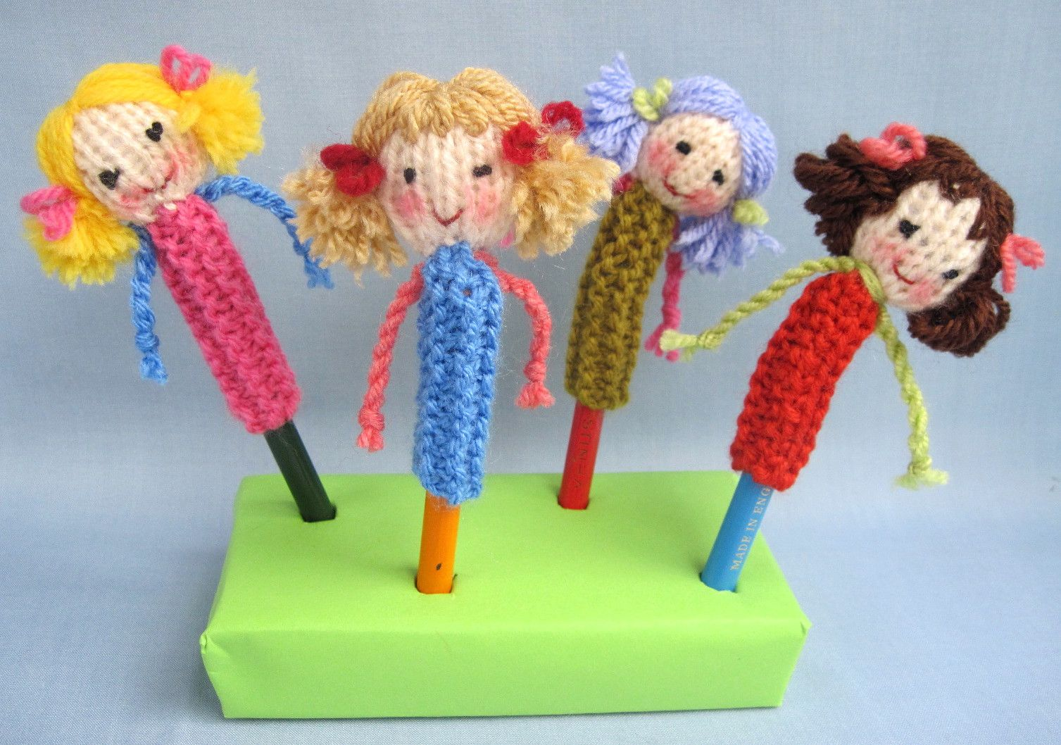 Free knitting pattern for doll pencil toppers by Flutterby Patch ...