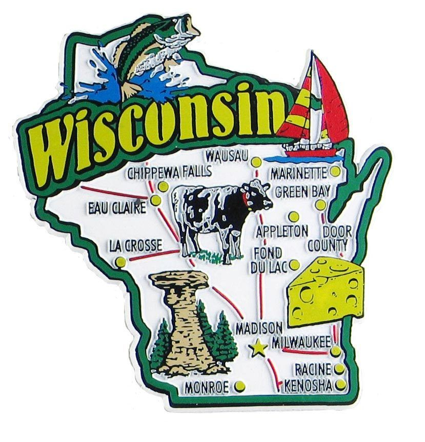 Wisconsin USA Souvenir Map State Magnet Magnets Souvenir and