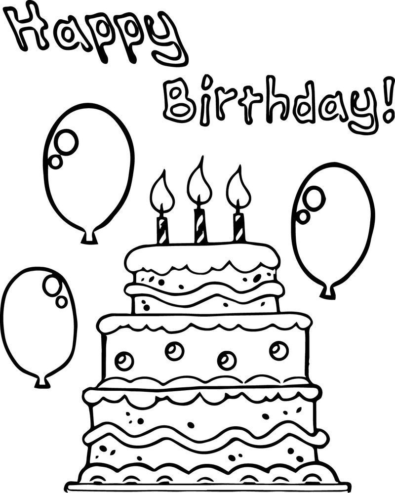 Birthday Cake Balloon Party Coloring Page | Happy birthday ...