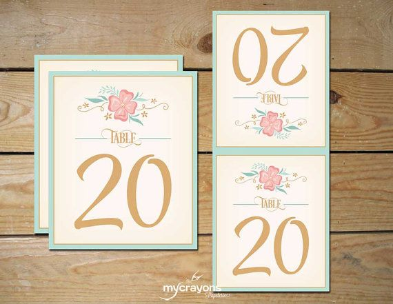 Printable Table Numbers Wedding Reception Decor // DIY Wedding Folding Table Numbers Tents // Floral Mint Peach Pink and Gold & Printable Table Numbers 1-20 Wedding Reception Decor // DIY ...
