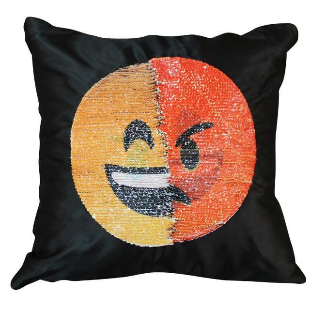 Nice Amusing Magic Emoji Mermaid Sequins Cushion Cover Sofa Throw Pillow Case
