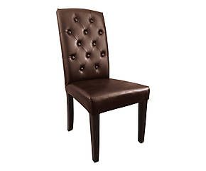 Chaise chesterfield hoa cuir et bois marron l45 salle for Chaises cuir marron salle manger