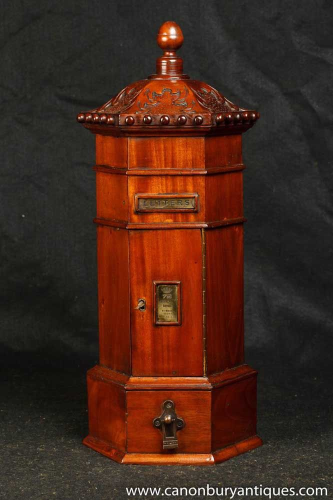 Antique Mahogany English Post Box Cabinet Letter Box Eastern ~  Canonburyantiques.com