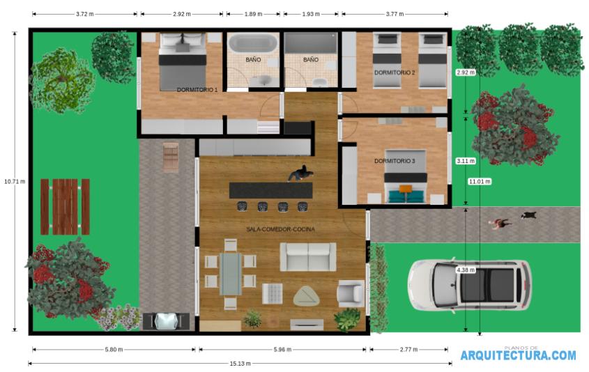 Planos De Casa De Un Piso Y Tres Dormitorios Ideas Para Construir
