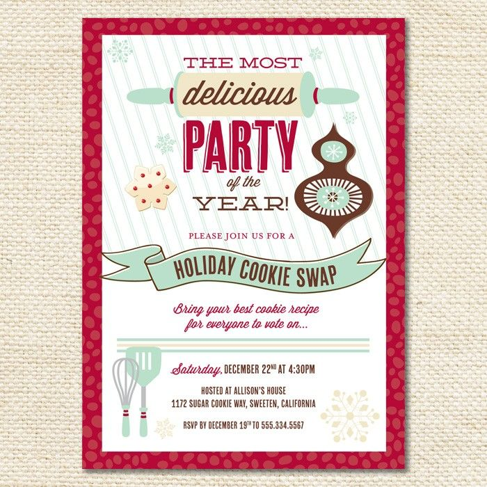 Holiday Cookie Exchange Holiday Invitations | Hostess Ink ...