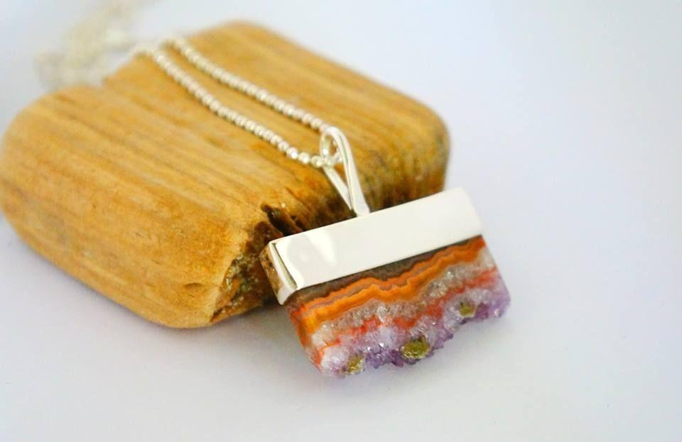 Amethyst slice pendant by Ek Art Jewelry Costa Rica