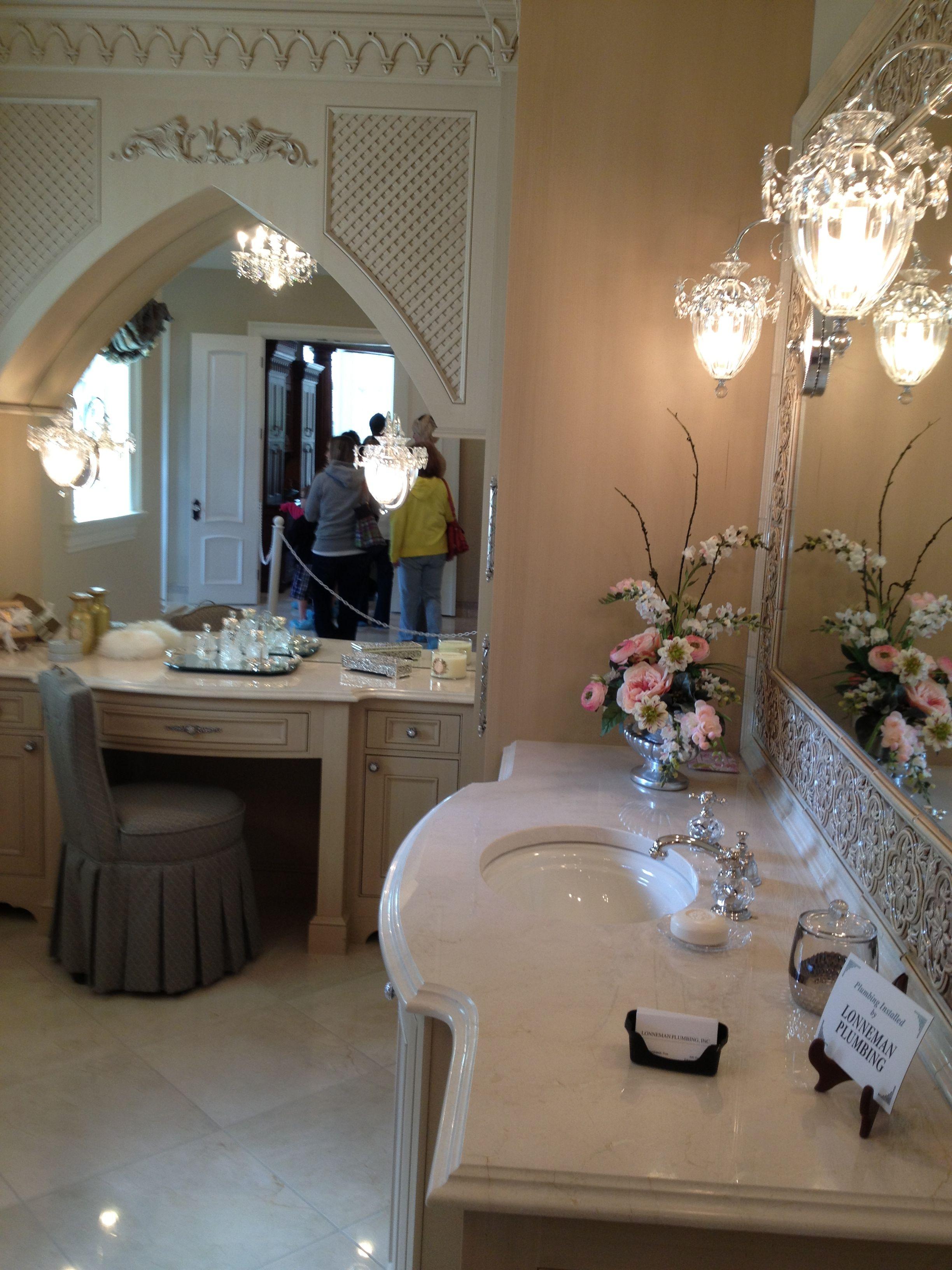 master bathroom, crystal light, molding, marble sink, vanity ...