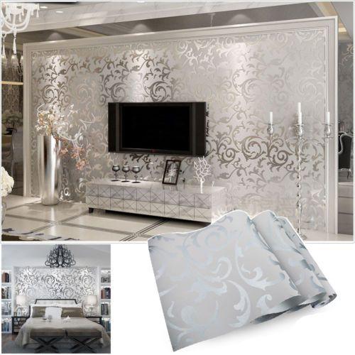 Elegant Vliestapete 3D Optik Vlies Wand Tapete Barock Rolle Wandtapete Dekoration  Silber