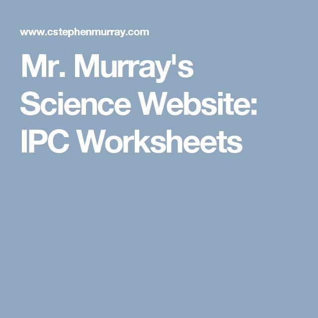 Mr. Murray\'s Science Website: IPC Worksheets | Edu: Science: Physics ...
