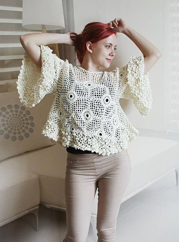 CROCHET PATTERN - Crochet Top Pattern, Blouse Pattern, Crochet Boho ...