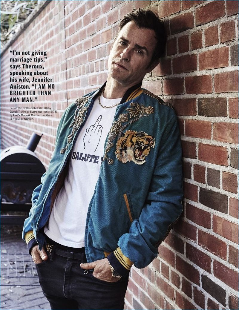 bead639c870 Actor Justin Theroux sports a Gucci jacket and belt with a Supreme t-shirt.  Theroux also rocks Levi s Made   Crafted jeans with a Cartier necklace.