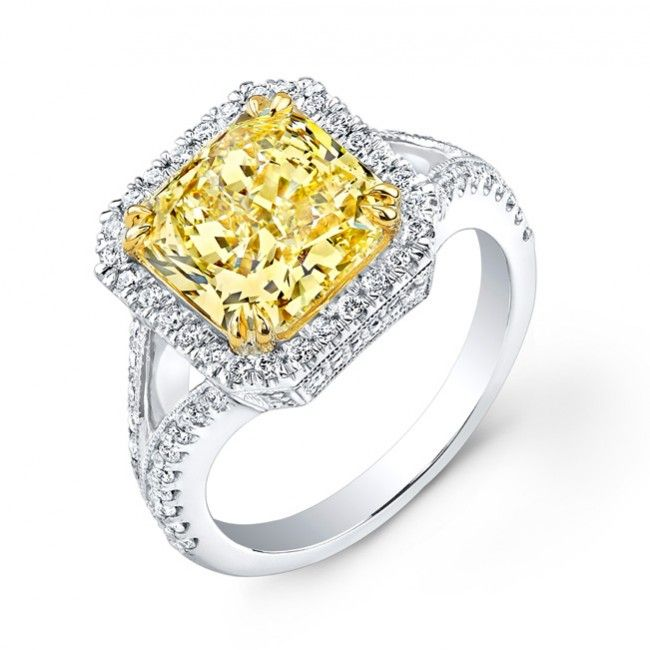 Uneek Natureal Fancy Yellow Radiant Diamond Engagement Ring LVS826