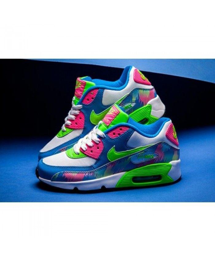 the best attitude 436bf 29428 Acheter Chaussures De Sport Nike Air Max 90 Bleu Électrique Vert Hyper Rose  Trainers En Ligne