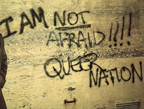 """lgbt-history-archive: """" """"I AM NOT AFRAID!!!! QUEER NATION,"""" Queer Nation (@queernationny) graffiti, New York City, c. 1990. Photographer unknown; post inspired by the incredible @ethanjamesgreen and all those who are taking to the streets...."""