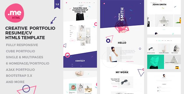 Me - Creative Portfolio  Resume / CV HTML5 Template Html