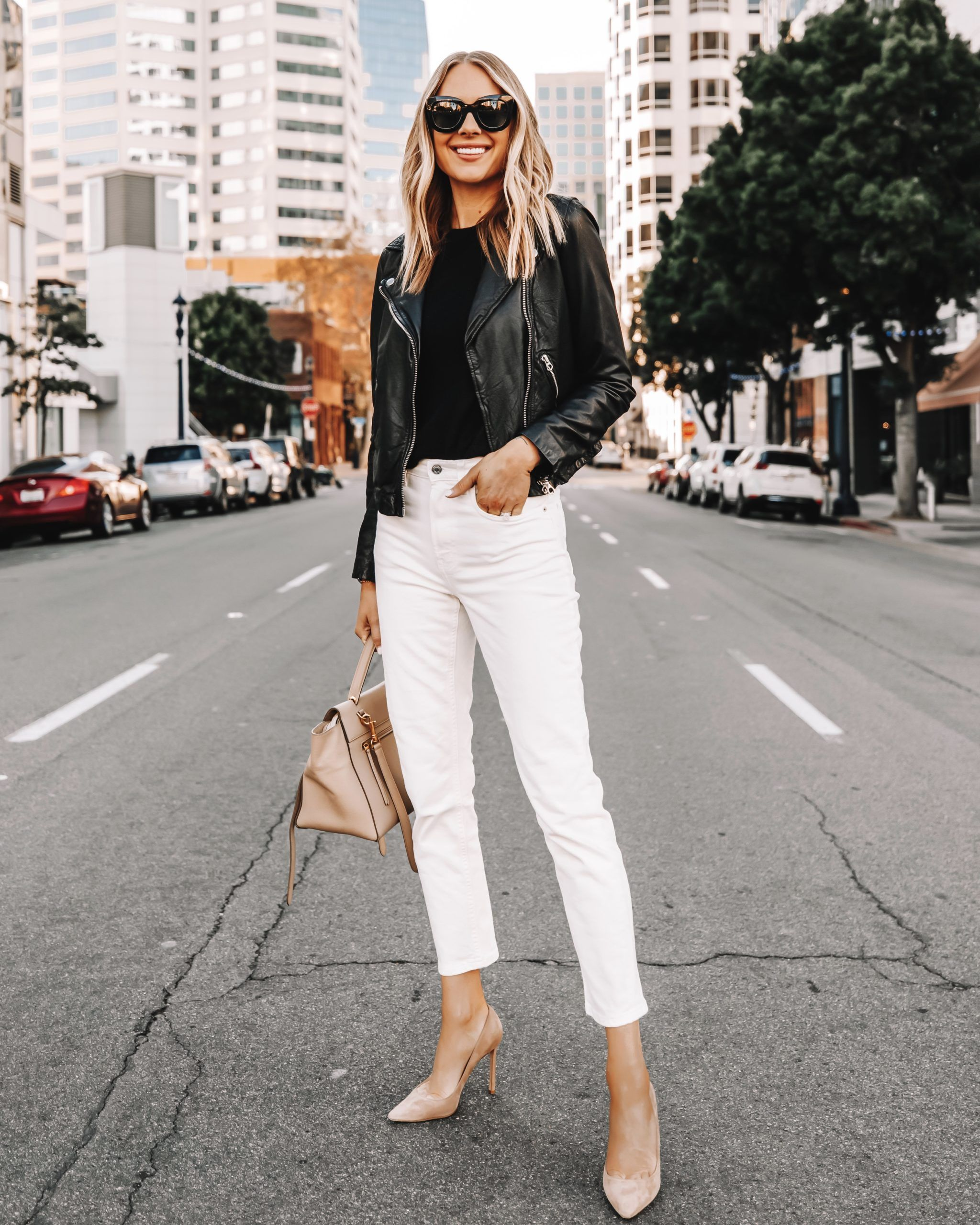 Madewell Black Leather Jacket White Jeans White Jeans Black Leather Jacket White Jeans O In 2020 Fashion Jackson Business Casual Outfits Black Leather Jacket Outfit
