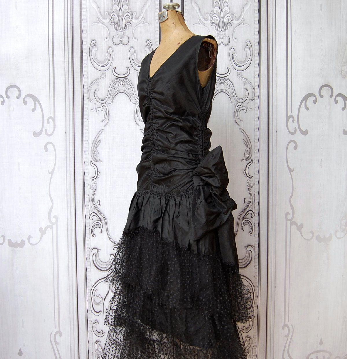 Vintage us art deco dress us black silk drop waist dress
