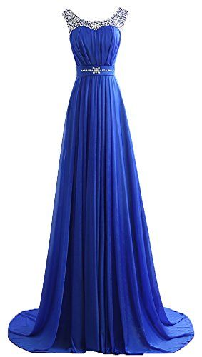 Generic Womens Scoop Neck Sweep Train Beaded Long Prom Evening Dress Blue Us8 You Can Get Additio Blue Evening Dresses Fashion Dresses Evening Dresses Prom