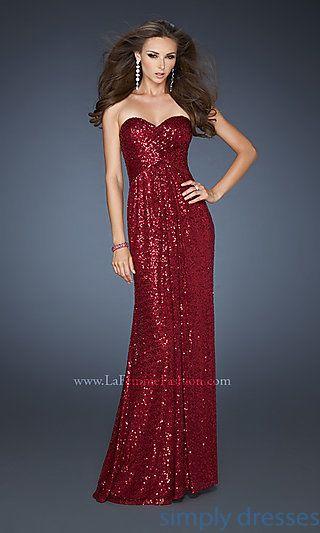 Long Strapless Sequin Dress, La Femme Prom Gowns - Simply Dresses