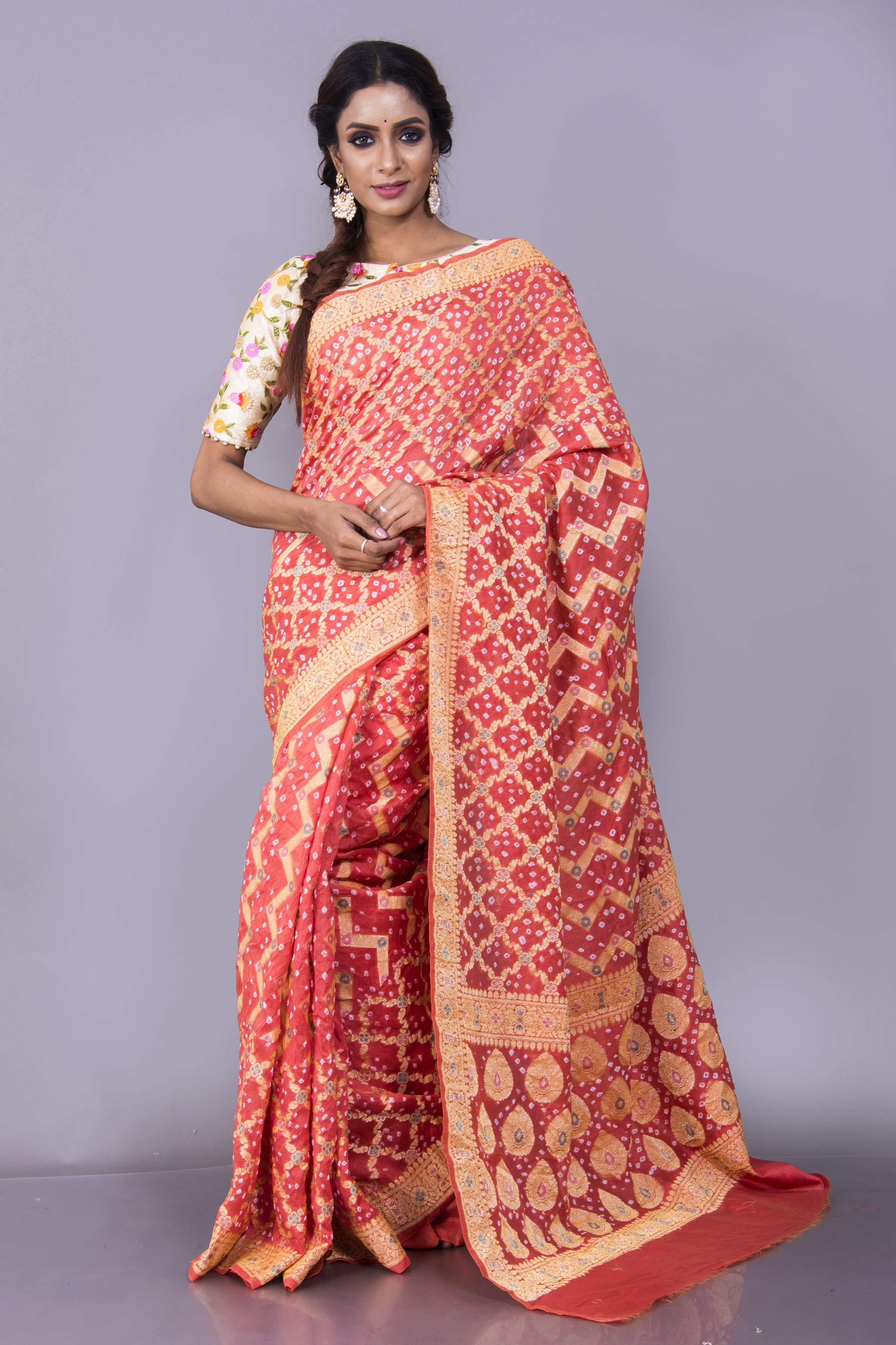 Pure Cotton Bandhani Banarasi Saree in Rust and Gold