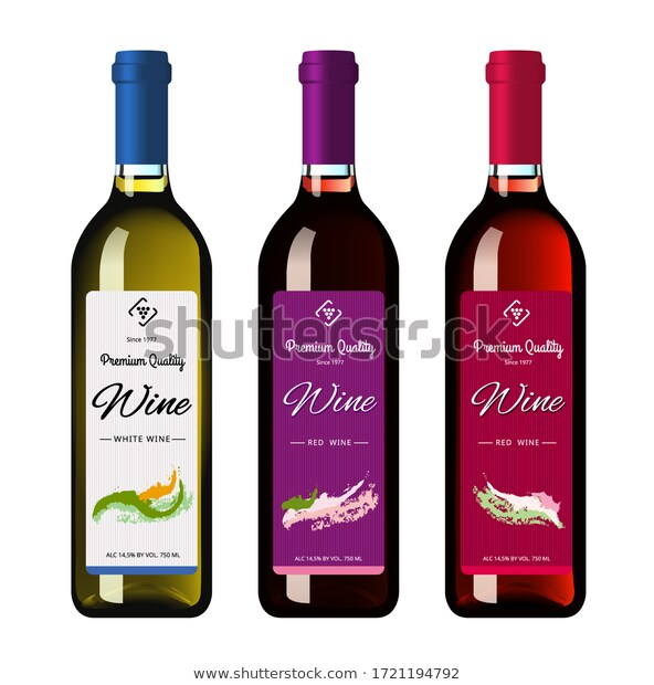 Wine Bottles Labels Made Realistic Style Stock Vector Royalty Free 1721194792 In 2020 Wine Bottle Labels Wine Bottle Wine