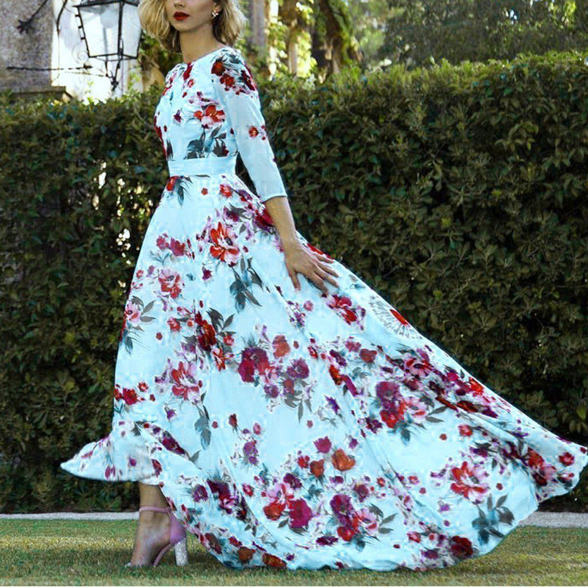 Elegant Floral Maxi Vacation Dress In 2021 Bohemian Style Summer Dresses Floral Print Maxi Dress Womens Maxi Dresses [ 1200 x 1200 Pixel ]