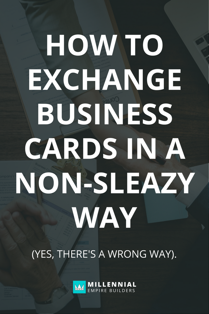 How to exchange business cards in a non sleazy way pinterest ever feel like you need to take a shower after you go to a networking event reheart Image collections