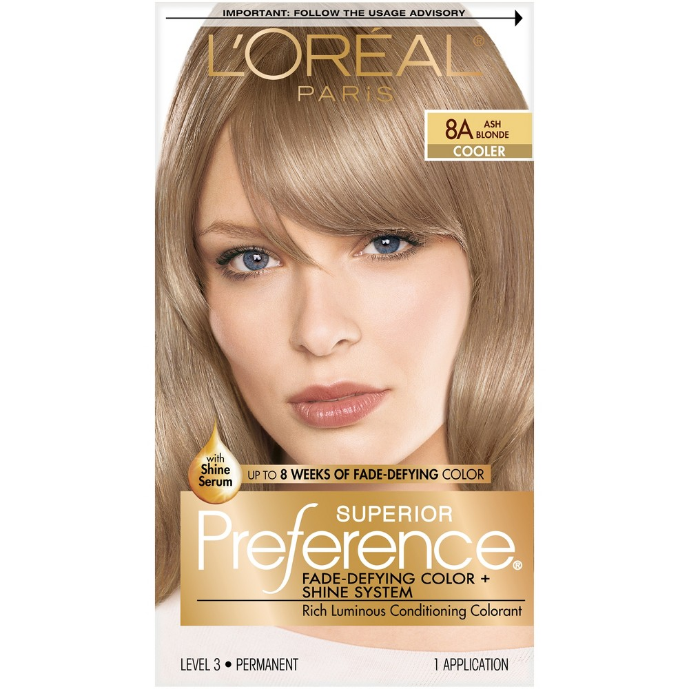 L Oreal Paris Superior Preference Fade Defying Color Shine System 8a Ash Blonde 1 Kit Loreal Paris Permanent Hair Color Loreal