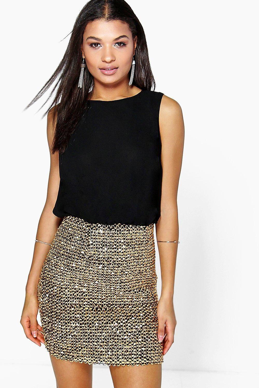 137cba8e6ce93 2 in 1 Chiffon Top Sequin Skirt Bodycon Dress in 2019 | clothes ...