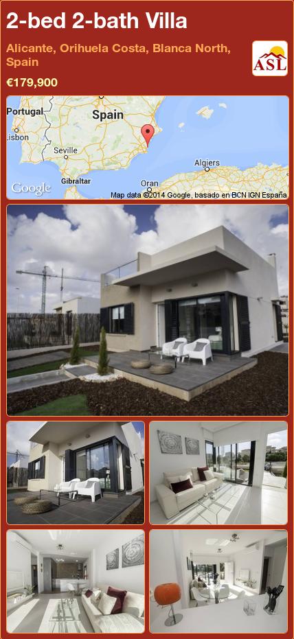 2-bed 2-bath Villa in Alicante, Orihuela Costa, Blanca North, Spain ►€179,900 #PropertyForSaleInSpain