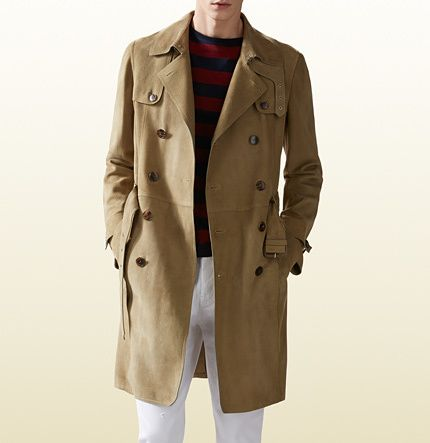 5ac63d083 Gucci Khaki Suede Trench Coat on shopstyle.com Mens Wool Coats, Mens  Overcoat,