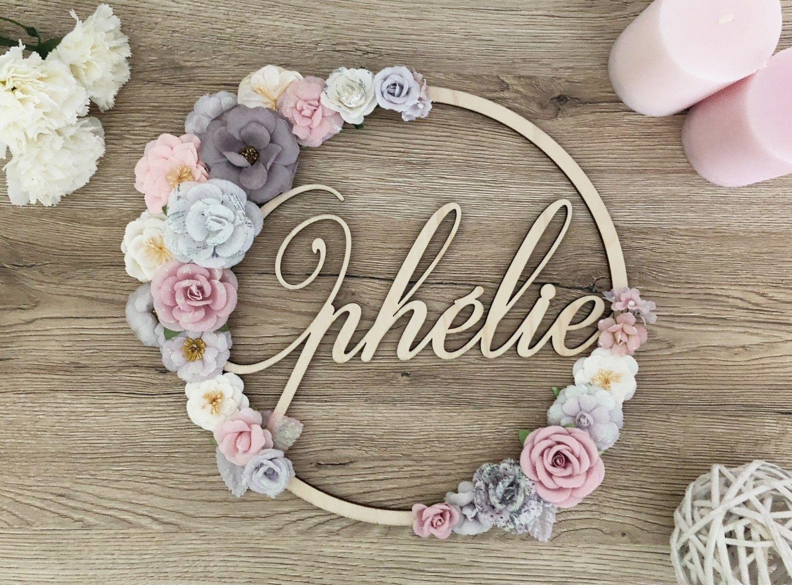 Floral Roses 15 cm Personnalisé Rond Nom Chambre Plaque Murale Cadeau
