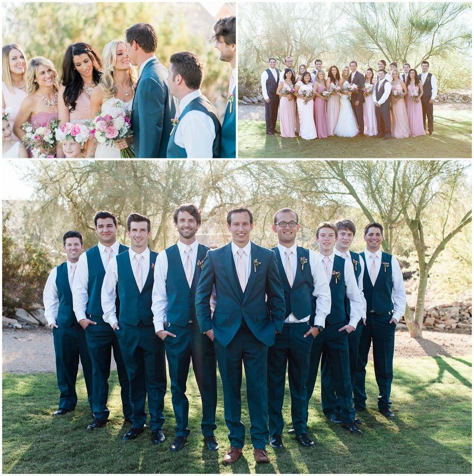 navy u0026 pink bridal party backyard wedding scottsdale az dan